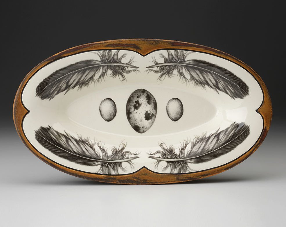 Oblong Serving Dish; Quail Feather