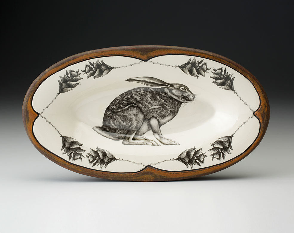 Oblong Serving Dish Crouching Hare