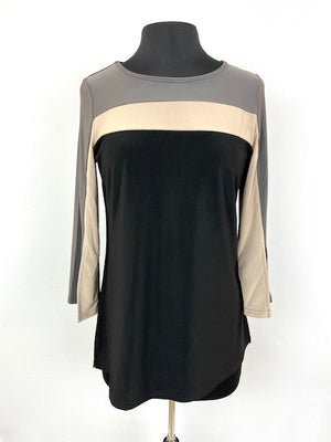 Black/Tan/Gray Bell Sleeve Top