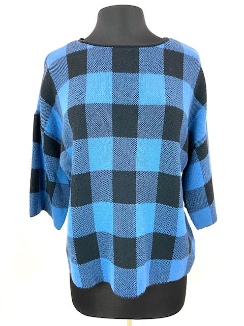 Black and Blue Plaid Dolman Sleeves Top
