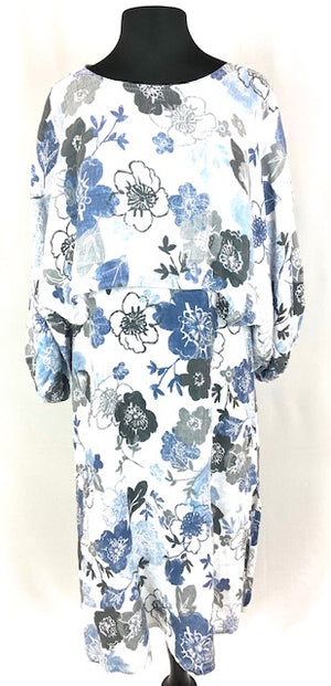 Long Floral Blue and Grey Cami Dress