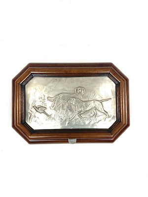 Antique Pewter Box With Hounds