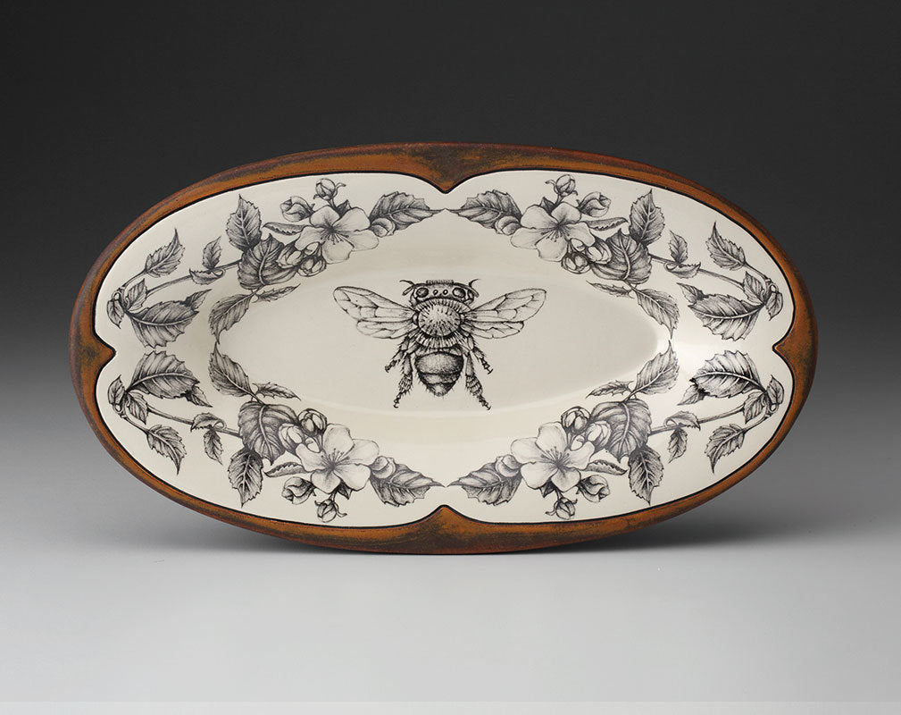 Rectangular Serving Dish: Honey Bee Apple Blossoms