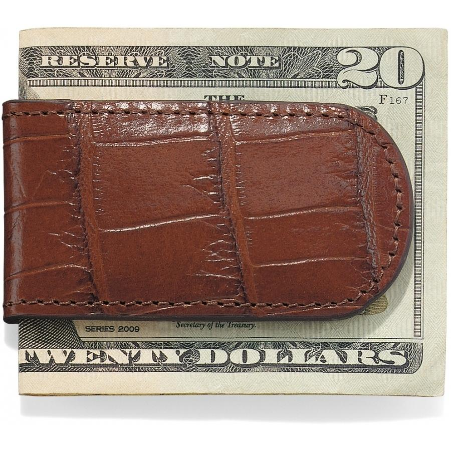 Croco Money Clip - Brown