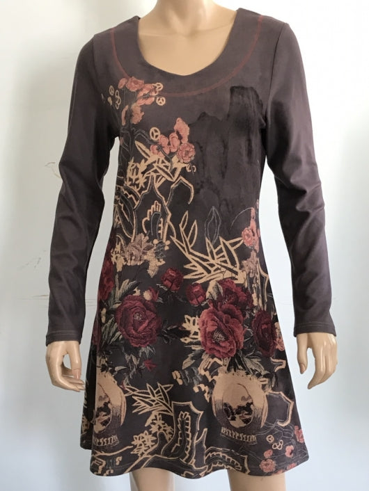 Long Sleeve Suede Floral Tunic Dress