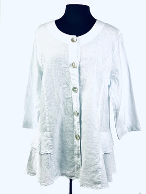 Free Fit Linen Button Down Blouse