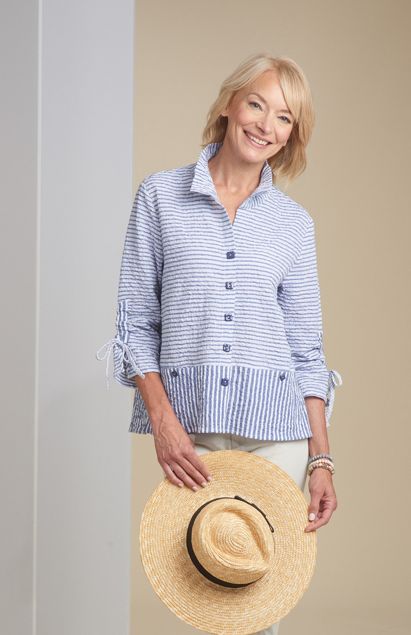 Bahama Stripe Ruched Collar Jacket
