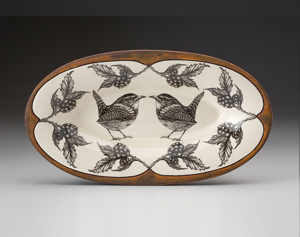Oblong Serving Dish; Carolina Wren