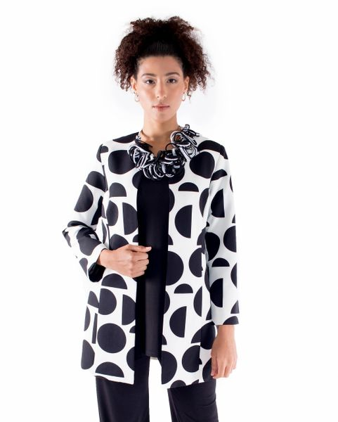 Vida Jacket Black and White Circle Print