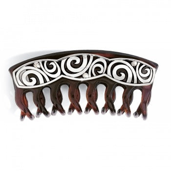 London Groove Large Hair Clip - Silver-Brown