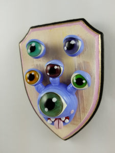 Glass Wall Mount Beholder with Hand Painted Plaque