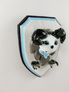 Glass Wall Mount Icewind Dale Owl Bear with Hand Painted Plaque