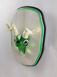 Glass Wall Mount Emerald Buck with Hand Painted Plaque