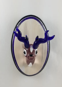 Glass Wall Mount Violet Buck with Hand Painted Plaque
