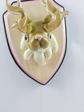 Load image into Gallery viewer, Glass Wall Mount Jackalope with Hand Painted Plaque
