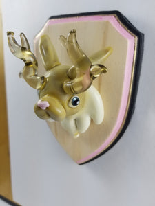 Glass Wall Mount Jackalope with Hand Painted Plaque