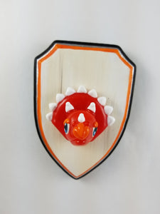 Wall Mount Creamsicle Triceratops with Hand Painted Plaque