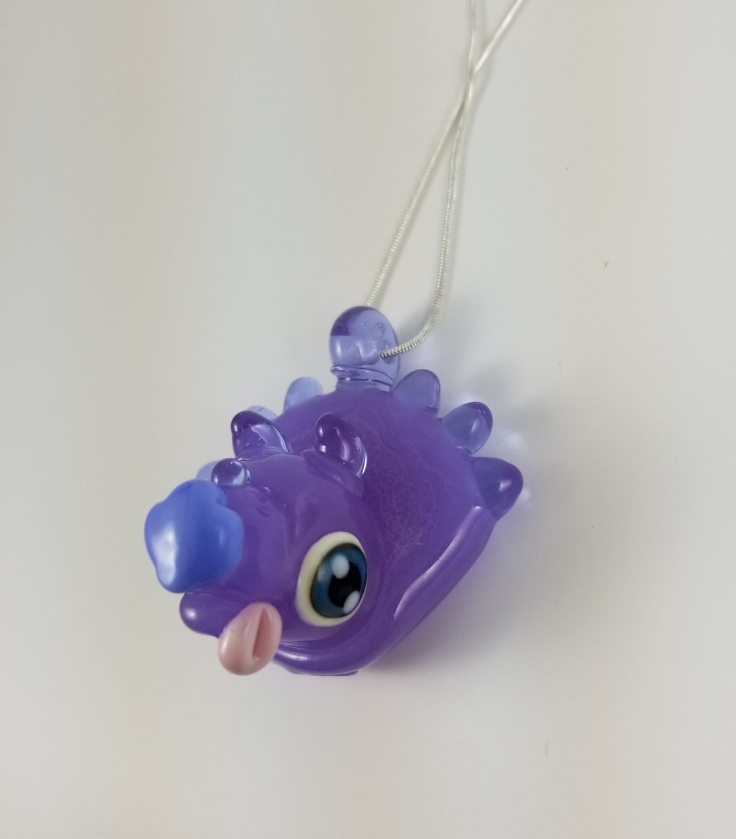 Lavender Triceratops Puppy Glass Pendant