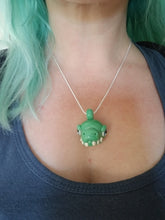 Load image into Gallery viewer, Garden Green Tyrannosaurus Glass Pendant #1