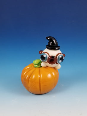 Witchy Pug on a Pumpkin Glass Sculture