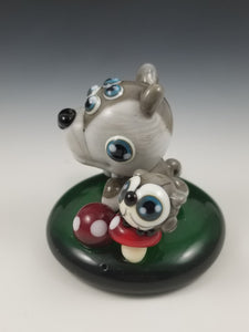 Wolf Spider and Owl Glass Sculpture
