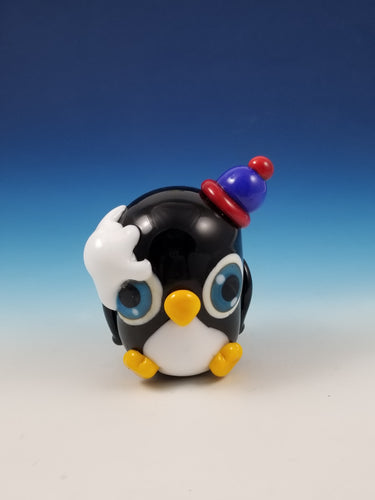 MEGA Pippin Penguin Snowball Fight Hand Sculpted Glass Figure