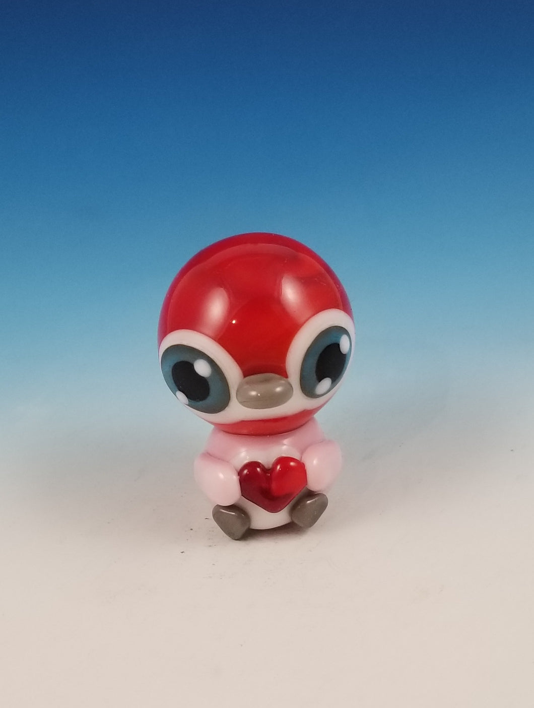 Red Valentine Smidgen Penguin Hand Sculpted Glass Figure