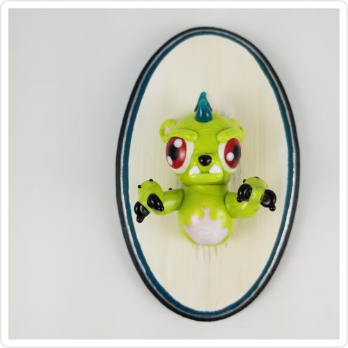 Glass Wall Mount Chupacabra with Hand Painted Plaque