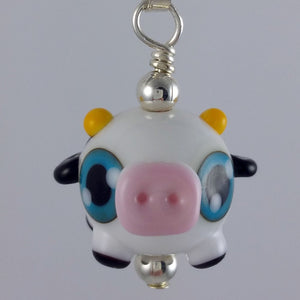 Cynthia Cow Hand Sculpted Glass Pendant