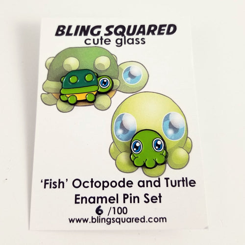 Fish Octopode and Turtle MINI Enamel Pin Set