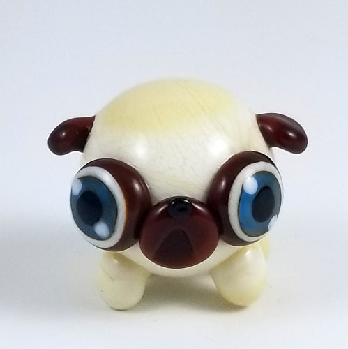Georgia Pug Hand Sculpted Glass Figure