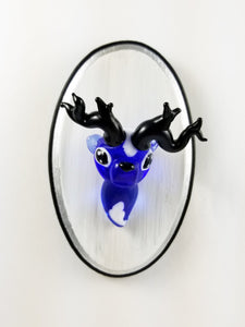 Glass Wall Mount Sapphire Buck with Hand Painted Plaque