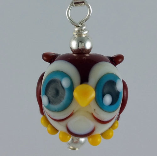 Soren Owl Hand Sculpted Glass Pendant
