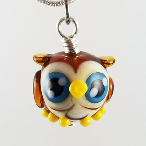 2020 Vision Soren Owl Hand Sculpted Glass Pendant