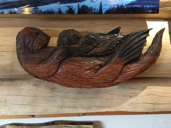 Red Cedar Mother and Baby Otter Wall Sculpture