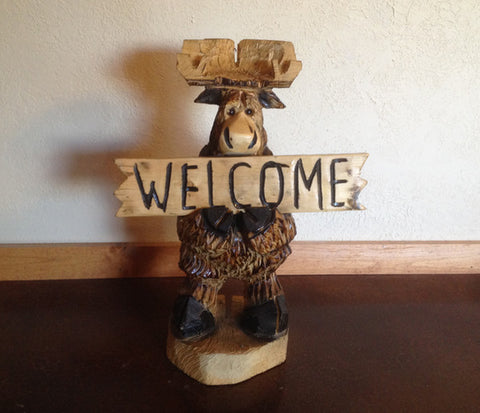 Welcome/Go Away Moose Carving