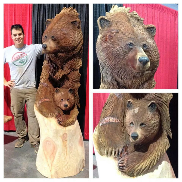 XL Mother Bear and Cub carving by Jordan Anderson
