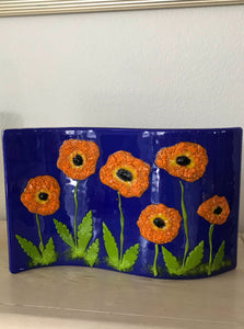 Double Wave Poppies Glass Art - by Hanni Kozler
