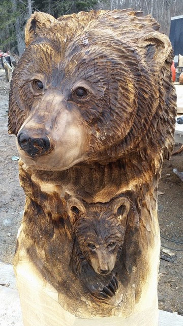 Mother and cub Bear Bust by Jordan Anderson