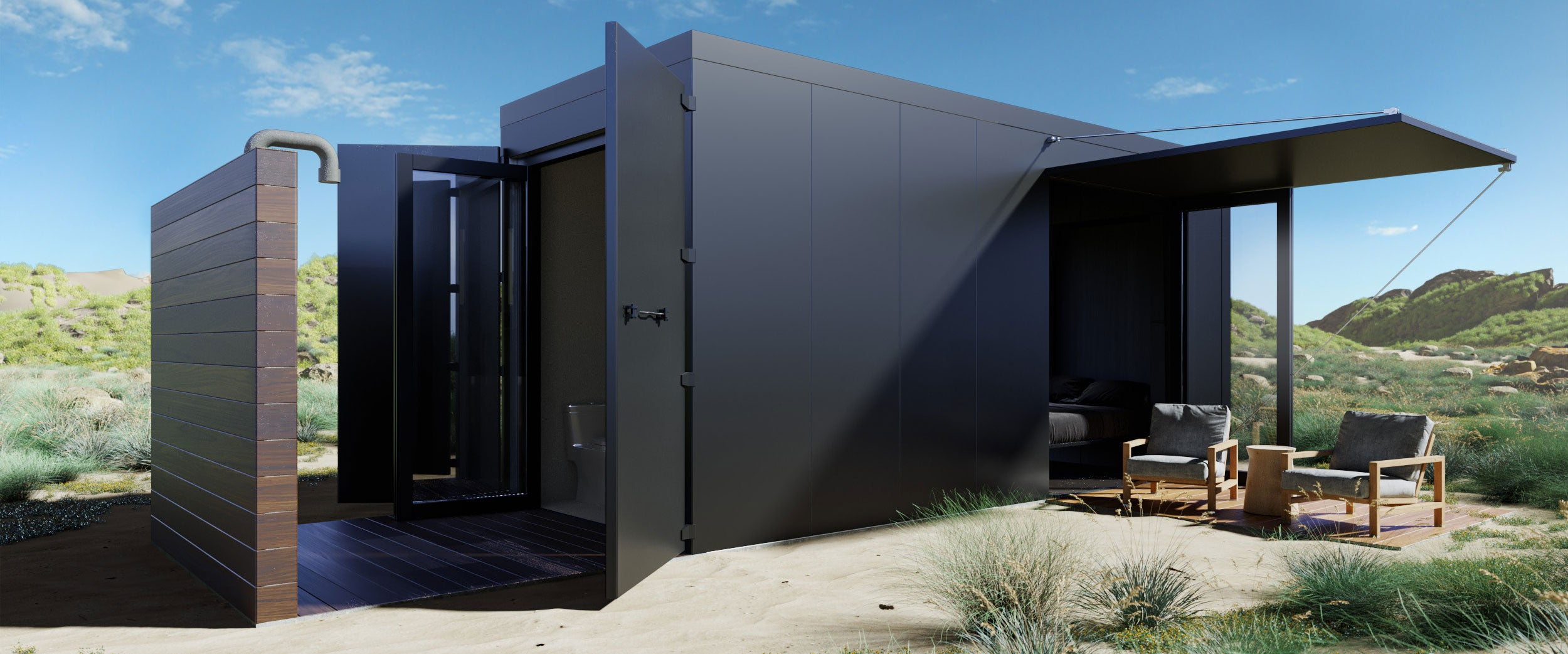 Buhaus Container Home Exterior Black