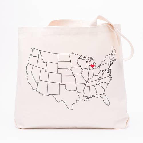 New York State Heart Map Tote Bag