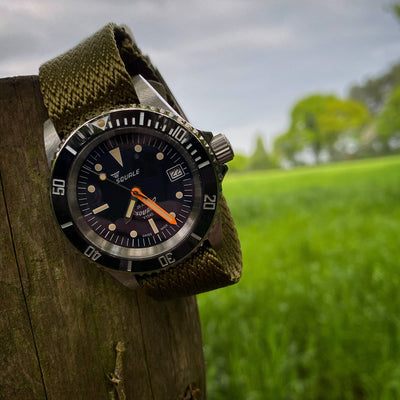 Lunar Pertexo Collection, Military Green Strap on a Squale Ferrovia