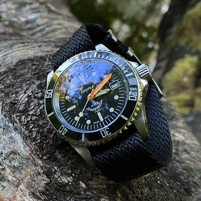 Lunar Pertexo Super Black Strap on a Squale Ferrovia