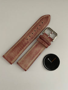 Red, Italian Leather Watch Strap - 316L Tang Buckle