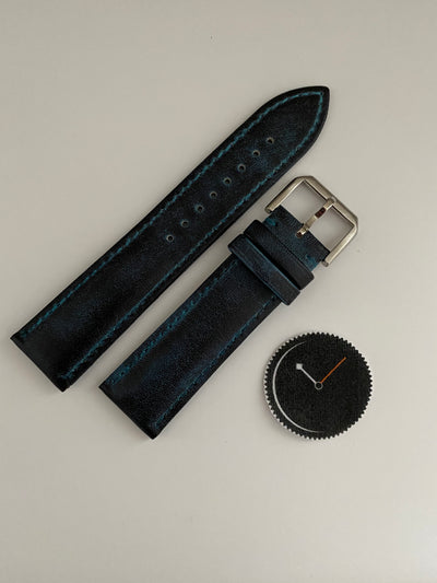 Navy, Italian Leather Watch Strap - 316L Tang Buckle
