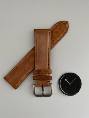 Light Brown, Italian Leather Watch Strap - 316L Tang Buckle