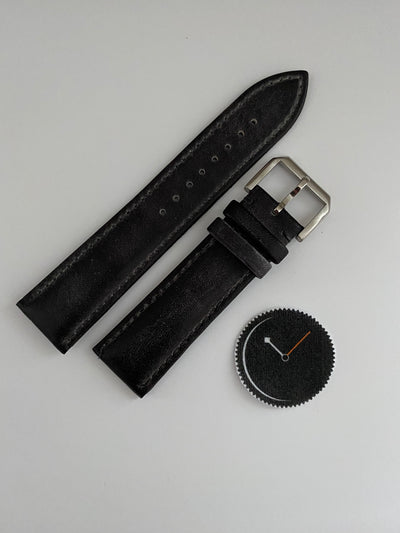 Black, Italian Leather Watch Strap - 316L Tang Buckle