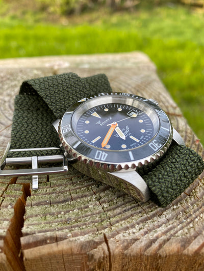 Green Lunar Perlon Strap fitted to a Squale 20 ATMOS Ferrovia