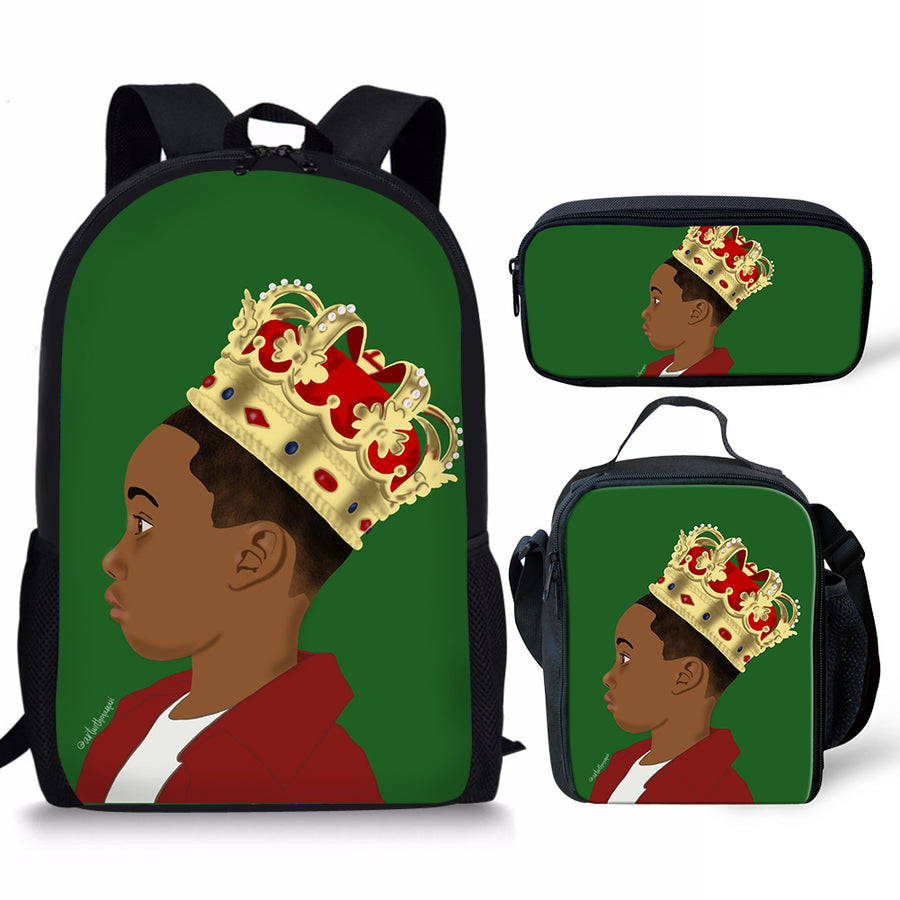Young King - 3 PC  Backpack/ Lunch bag Set