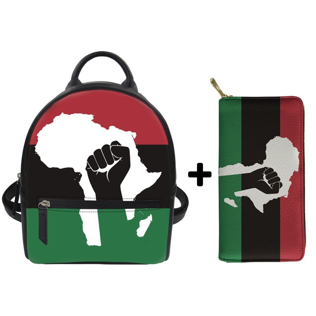 African Nation - Vegan Leather Mini Backpack + Wallet Set